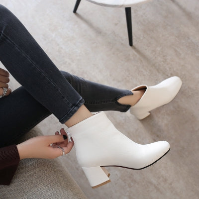 Women's Boots Solid Color Ladylike Thick Heel Ankle Shoes