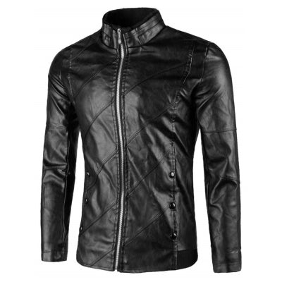 Flap Button Embellished Faux Leather Jacket