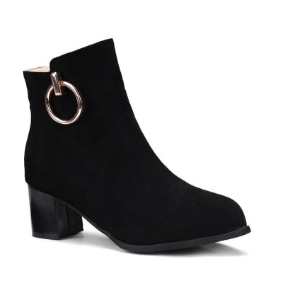 Shoes Miss Ascpf07-6 Thick and Round Head Fashion Ankle Boots