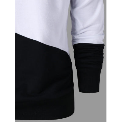 Color Block Raglan Sleeve Drawstring Neck Hoodie