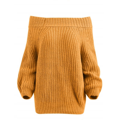 Off The Shoulder Pullover Chunky Sweater