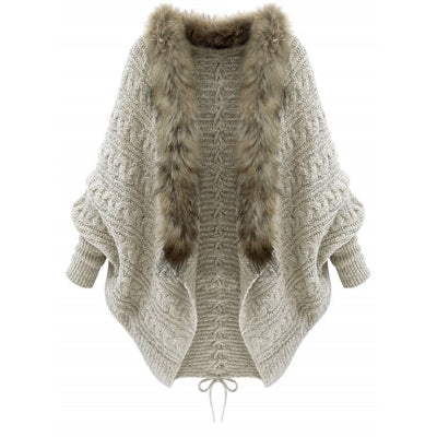 Faux Fur Batwing Sleeve Open Front Cardigan