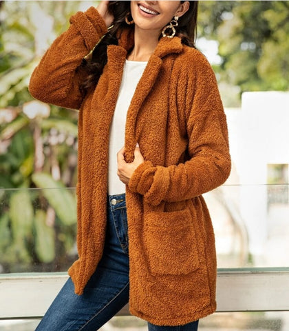 Dual Pocket Open Front Teddy Coat