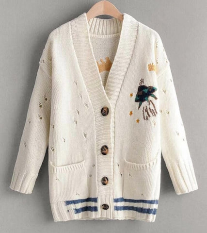 Dual Pocket Striped Ripped Embroidery Cardigan