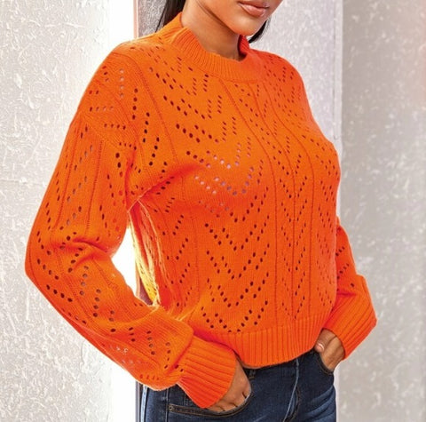 Neon Orange Open Knit Sweater