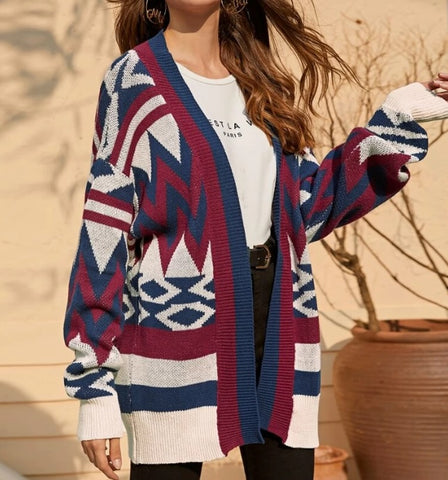Open Front Drop Shoulder Geo Cardigan