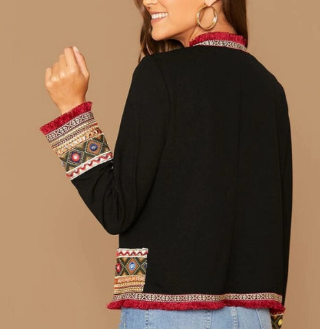 Frayed Trim Tribal Jacquard Jacket