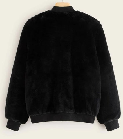 Two Tone Zip Up Faux Fur Coat
