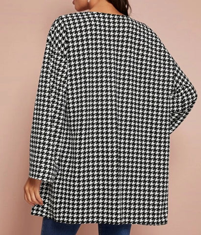 Open Front Houndstooth Coat