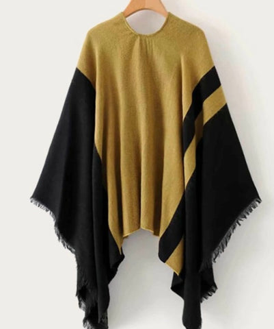 Two Tone Raw Hem Cape Cardigan