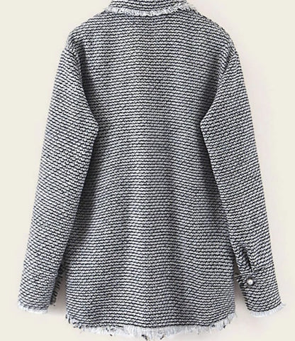 Dual Pocket Fringe Hem Tweed Coat