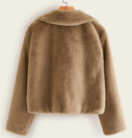 Solid Lapel Faux Fur Coat