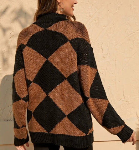 Mock-Neck Two Tone Geo Sweater