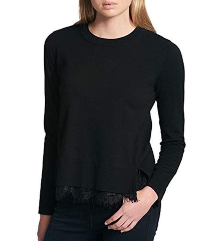 DKNY Women's Lace Side-Slit Sweater - T-shirt - SouqBrands.com