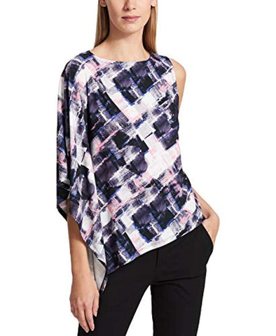 DKNY Women's One-shoulder Printed Pullover Blouse Shirt Top Large - Blouse - SouqBrands.com