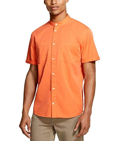 DKNY Nasturtium Mens Medium Banded Collar Shirt Medium Orange - Shirts - SouqBrands.com