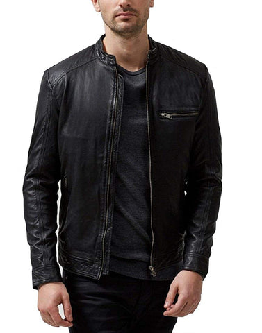 Absolute Leather Men's Sparta Black Classic Genuine Lambskin Leather Jacket - Jacket - SouqBrands.com