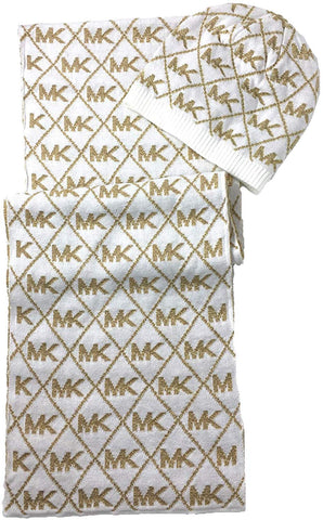 Michael Kors Women's Metallic MK Diamond Logo Scarf & Hat Set