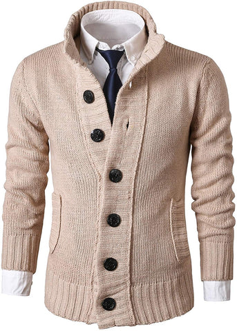 MIEDEON Mens Casual Stand Collar Cable Knitted Button Down Cardigan Sweater - Clothes - SouqBrands.com