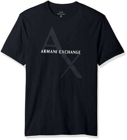 A|X Armani Exchange Men's Crew Neck Logo Tee Quilted Logo Navy - T-Shirt - SouqBrands.com