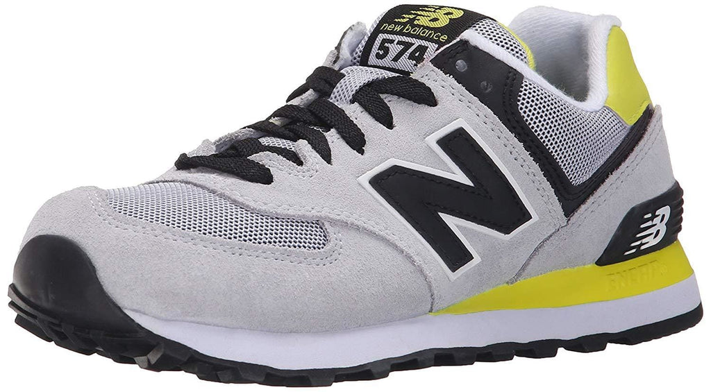 New Balance Women's WL574 CORE PLUS-W Lifestyle Sneaker Light Grey/Black/Yellow - Shoes - SouqBrands.com