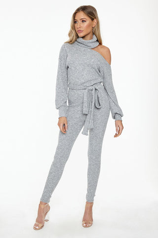 Long Sleeve Sweater Jumpsuit With Asymmetrical Shoulder Cut Out