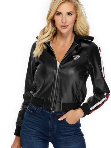 FIERY HOODED FAUX-LEATHER BOMBER JACKET