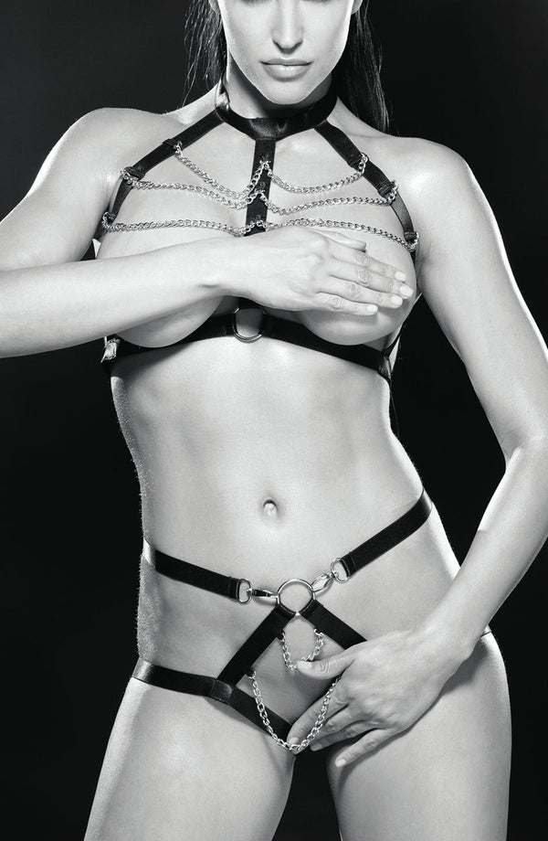 2 Piece Set - Chained Cage Bra & Chained Harness Pants With Crothless & Open Bum Effect