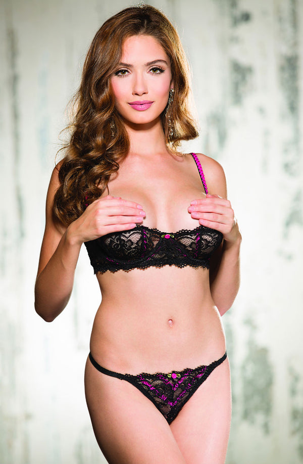 Lace Shelf Bra & Matching Thong With Gorgeous Pink Rose & Hot Pink Details by Shirley of Hollywood only 56.99 at girls.co.uk