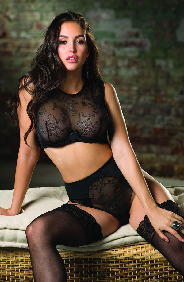 2 Piece Set - Cropped Lace Camisole Bra & High Waisted Briefs With Suspenders by Shirley of Hollywood only 59.99 at girls.co.uk