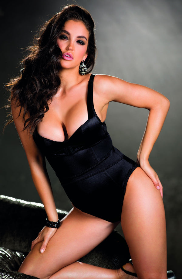 Satin Teddy With Padded Underwired Bra & Cleavage Enhancing Front Closure by Shirley of Hollywood only 67.99 at girls.co.uk