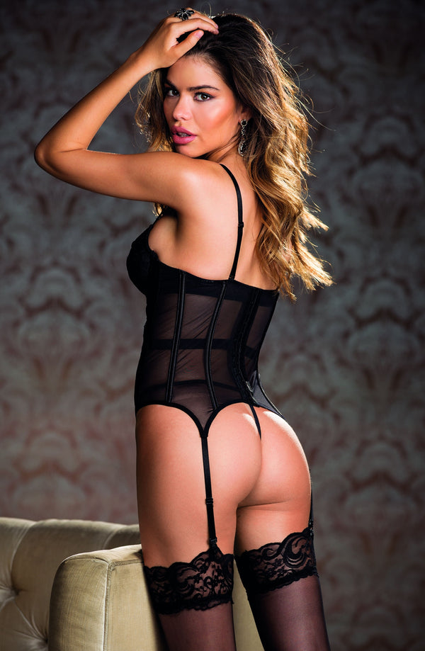 2 Piece Set - Lace & Mesh Bustier Chemise With Suspenders & Matching G-String