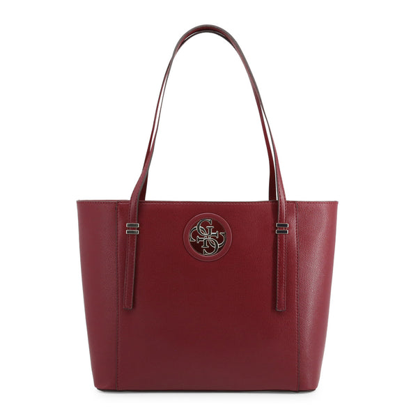 Red Leather Shopping Bag Design With Visible Logo by Guess only 89.99 at girls.co.uk
