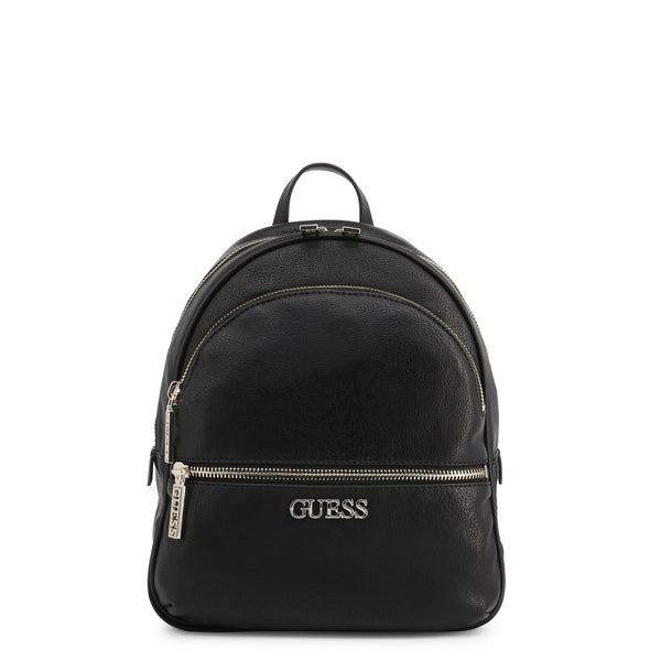 Black Leather Backpack With Branded Logo Design by Guess only 99.99 at girls.co.uk