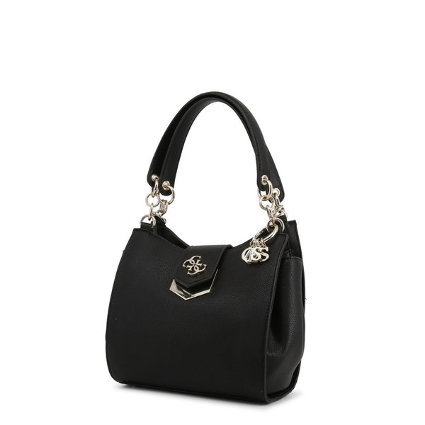 Leather Handbag With Link Design Straps, Keychain & Logo On Bag Closure by Guess only  at girls.co.uk