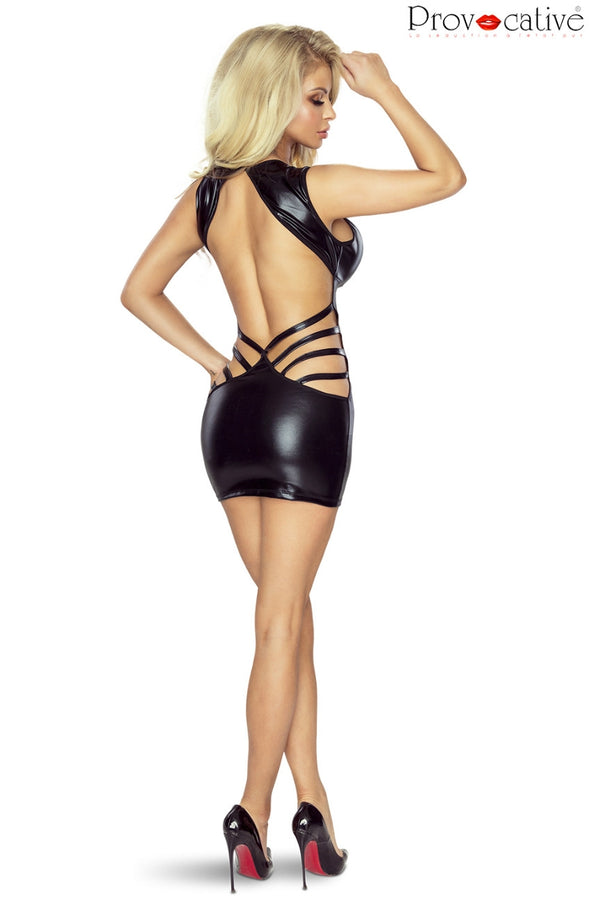 Provocative Provocative PR6080 Wet Look Dress Black in Color with size Size only 67.99 at girls.co.uk
