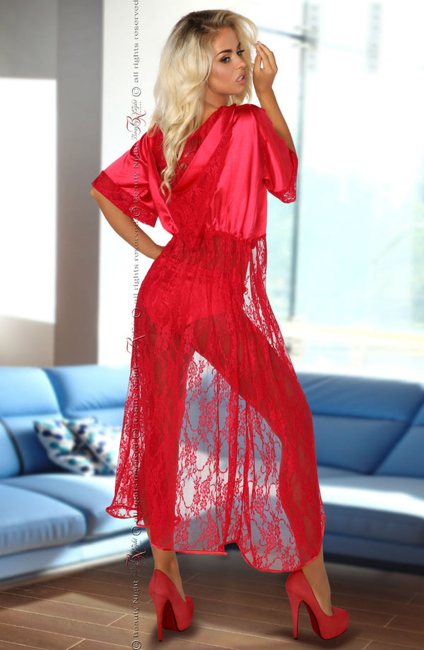 Red Hot Satin Hooded Robe With Lace by Beauty Night only 101.99 at girls.co.uk
