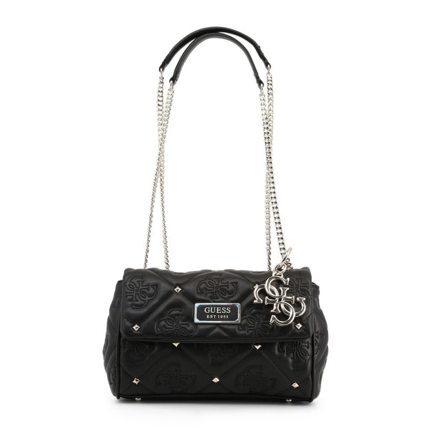 Printed Leather & Stud Design Shoulder Bag With Keychain by Guess only 99.99 at girls.co.uk