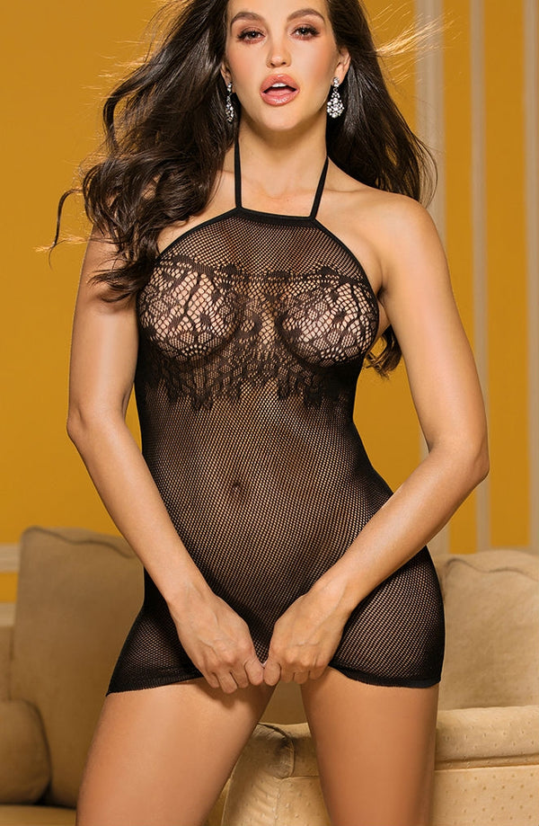 Micro Fishnet & Stretch Lace Chemise With Halter Neck by Shirley of Hollywood only 26.99 at girls.co.uk