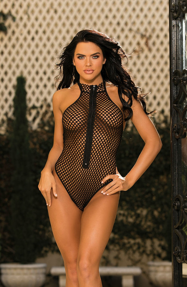 Raunchy Fishnet Teddy With Front Zip Design by Shirley of Hollywood only 39.99 at girls.co.uk