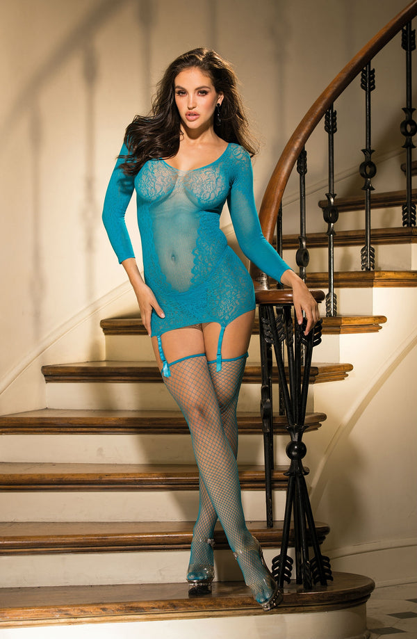 3 Piece Set - Suspender Detailed Chemise, G-String & Fishnet Stockings