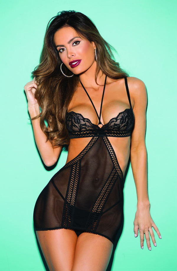 2 Piece Set - Stretch Mesh & Lace Chemise With Honey Comb Elastic Details & Matching G-String