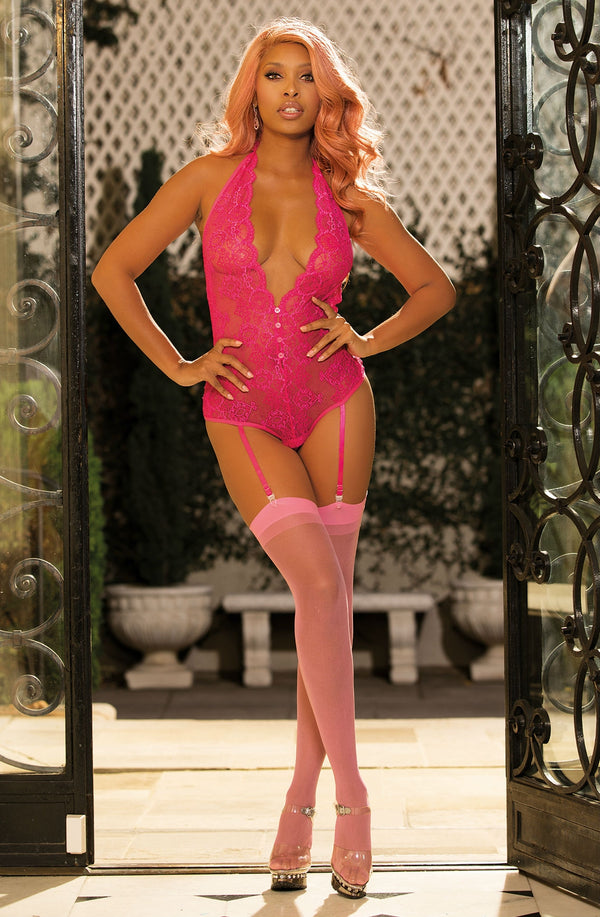 2 Piece Set - Floral Lace Teddy With Suspenders & Deep V Plunge+ Matching Stockings