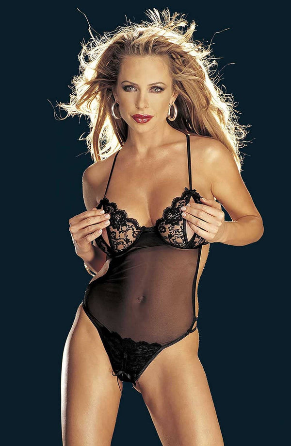 Peek-a-Boo Crotchless Lace & Mesh Teddy by Shirley of Hollywood only 48.99 at girls.co.uk