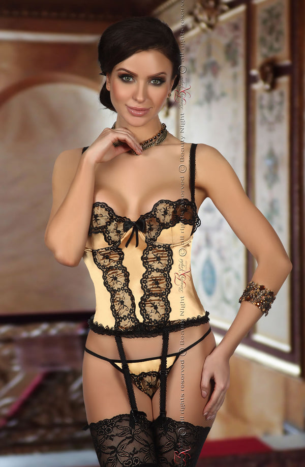 Shiny Satin Corset With Embroidered Black Lace by Beauty Night only 59.99 at girls.co.uk