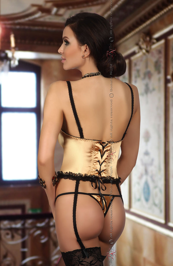 Shiny Satin Corset With Embroidered Black Lace