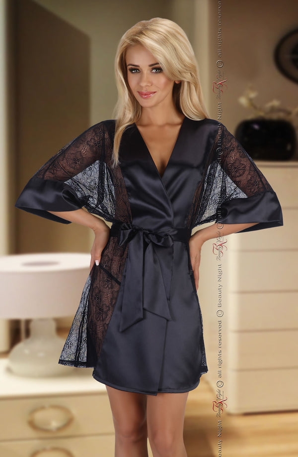 Luxury Black Satin Robe With Lace Panels by Beauty Night only 70.99 at girls.co.uk