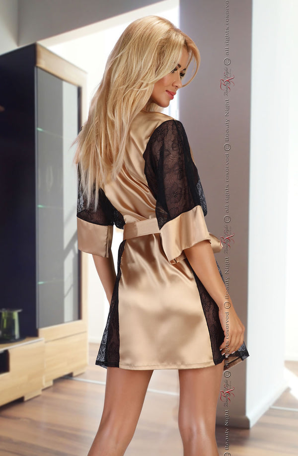 Exclusive Gold Satin Dressing Gown With Black Lace by Beauty Night only 70.99 at girls.co.uk