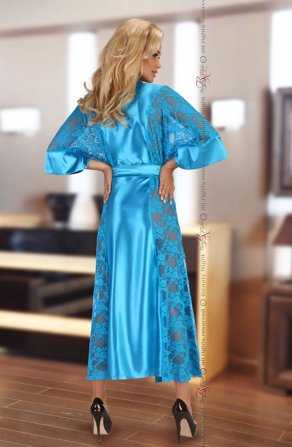 Irresistible Turquoise Satin Dressing Gown With Lace Sides by Beauty Night only 86.99 at girls.co.uk