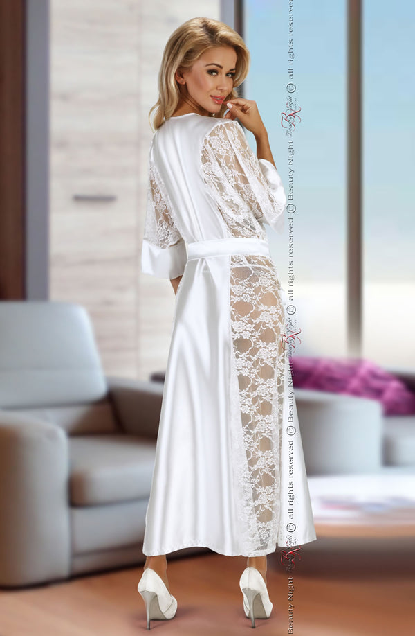 Long White Satin Dressing Gown With Lace Sides